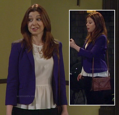 Lily's white lace peplum top and blue blazer on How I Met Your Mother