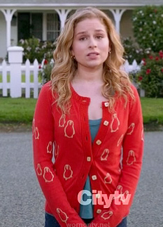 Lisa's red penguin cardigan on Suburgatory