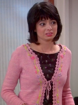 Lucy's pink embroidered cardigan on The Big Bang Theory