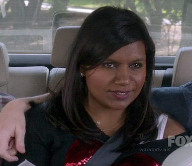 Mindy's black and red sequin heart sweater on The Mindy Project