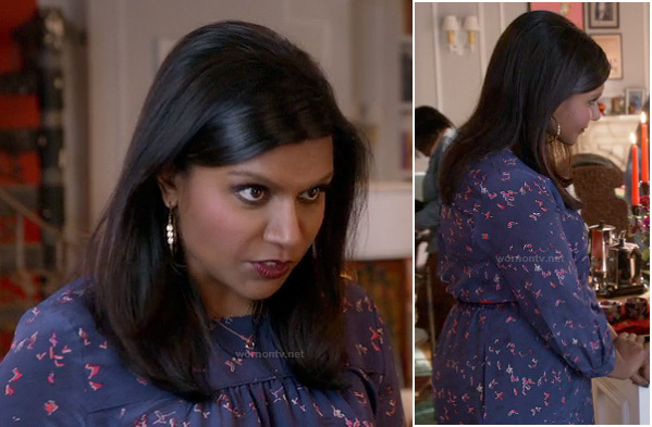 Mindy's blue and pink bird print dress on The Mindy Project