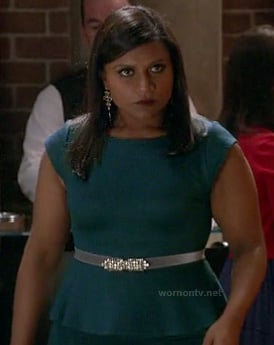 Mindy's teal green peplum dress on The Mindy Project