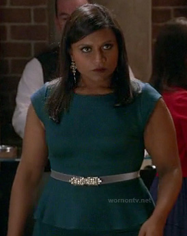 Mindy's teal green peplum dress with jewelled belt on The Mindy Project
