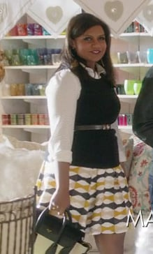 Mindy's yellow geo print skirt with white shirt on The Mindy Project