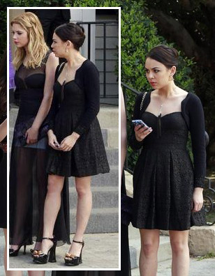 Mona's black lace dress at the funeral on PLL