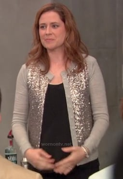 Pam's grey sequin cardigan on The Office last episode