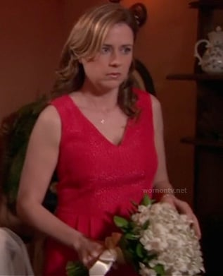Jenna Fisher's red dress at Dwight and Angela's wedding on The Office