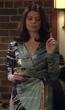 Krirsten's (Casey Wilson) printed wrap dress on How I Met Your Mother