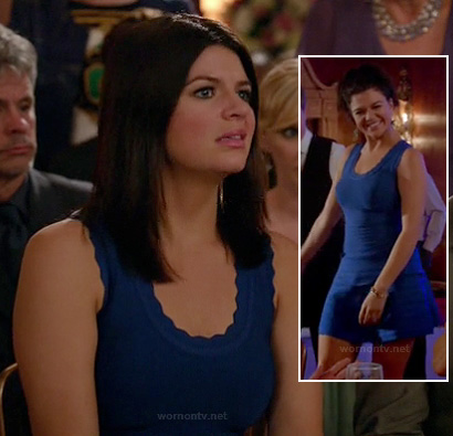 Penny's blue scalloped dress at the wedding on Happy Endings