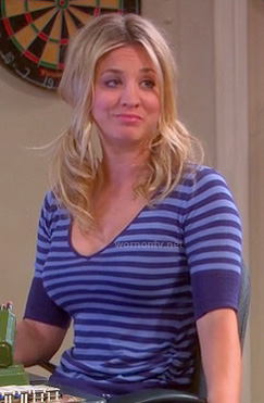 Penny's blue striped v-neck tee on The Big Bang Theory