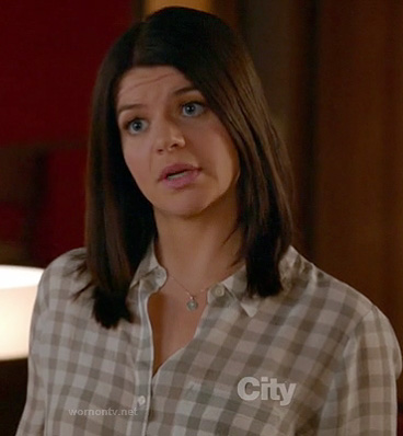 Penny's grey check shirt on Happy Endings