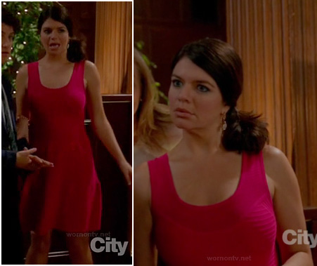 Penny's pink flared dress on Happy Endings