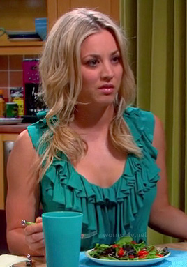 Penny's teal green ruffle top on The Big Bang Theory