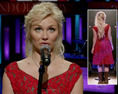 Scarlett's red lace dress on Nashville