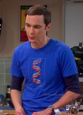 Sheldons blue superman dna shirt on the big bang theory