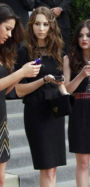 Spencer's black lace peplum dress at the funeral on PLL