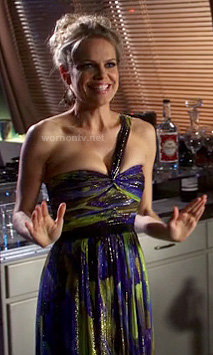Tansy's blue and green one shouldered gown on Hart of Dixie