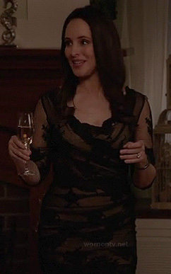 Victoria's black lace dress at Emilys engagement party on Revenge