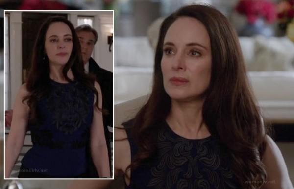 Victoria's blue peplum embroidered top on Revenge