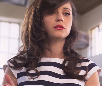 "Zooey Deschanels striped dress on She and Him's ""I Could've Been Your Girl"" clip"