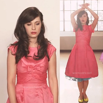 "Zooey Deschanel's hot pink dress with blue petticoat and yellow flats on the ""I Could've Been Your Girl"" film clip"