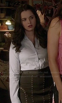 Bay's black studded skirt on Switched at Birth