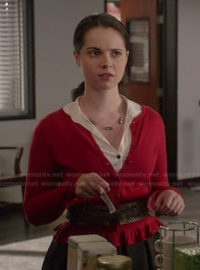 Bay's red ruffled cardigan on Switched at Birth
