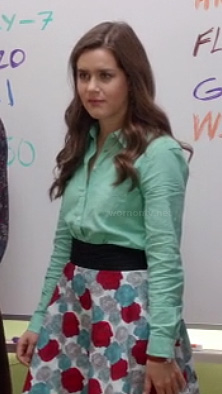 Betsey's floral skirt with mint green shirt on The Mindy Project