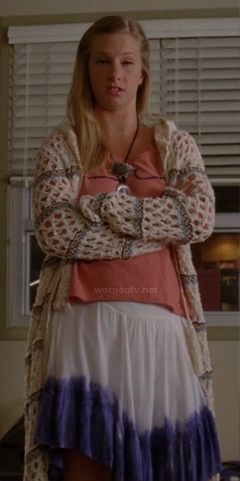 Brittany's long knit cardigan and dip dyed skirt on Glee