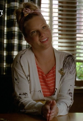 Brittany's red striped dress and dog print cardigan on Glee