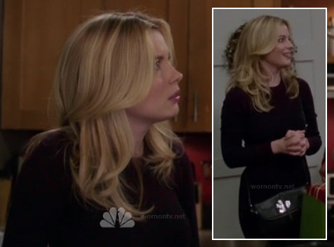 Britta's dark red sweater and black bird purse on Community
