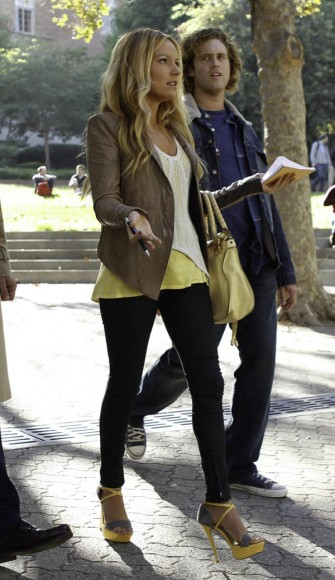 Chloe's taupe leather jacket on The Goodwin Games