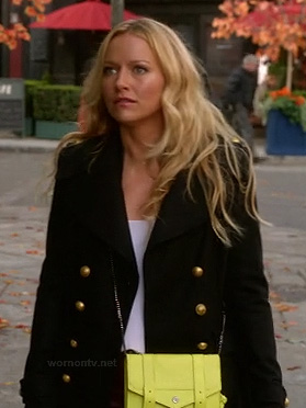 Chloe's military style coat and neon yellow purse on The Goodwin Games