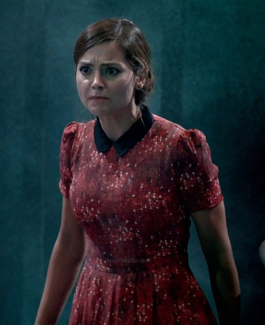 Clara's red printed dress with black collar on Dr Who