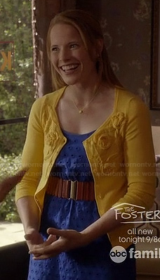 Daphne's royal blue eyelet dress and yellow flower cardigan on Switched at Birth