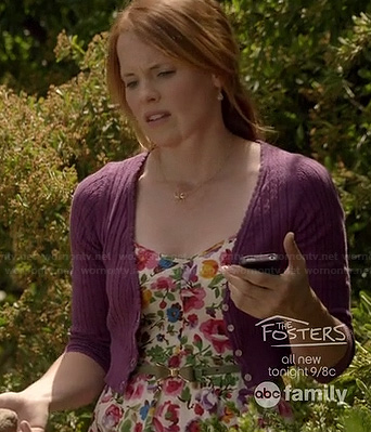 Daphne's floral dress, purple cardigan and gold flower necklace on Switched at Birth