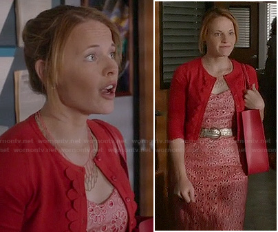 Daphne's coral eyelet dress and red scalloped cardigan on Switched at Birth