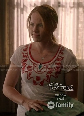 Daphne's white and red beaded tee on Switched at Birth