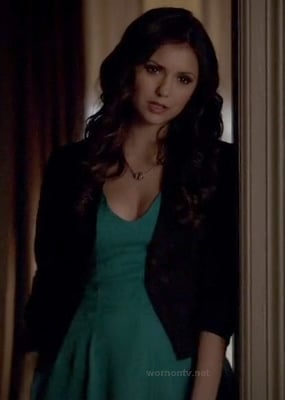 Katherine's teal green dress on The Vampire Diaries