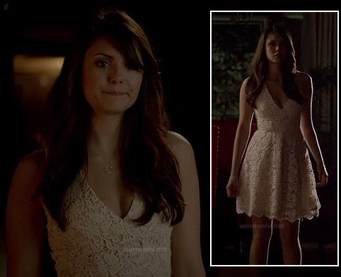 Elena's white lace graduation dress on The Vampire Diaries