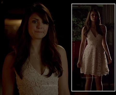 wornontv elena s white lace graduation dress on the