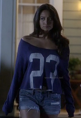 "Emily's blue cropped ""23"" off shoulder sweater on Pretty Little Liars"