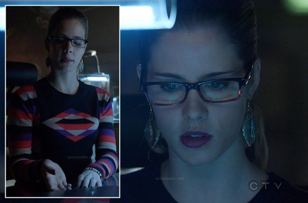 Felicity's striped sleeve sweater on Arrow