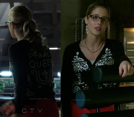 Felicity's Pearl Queen cardigan on Arrow