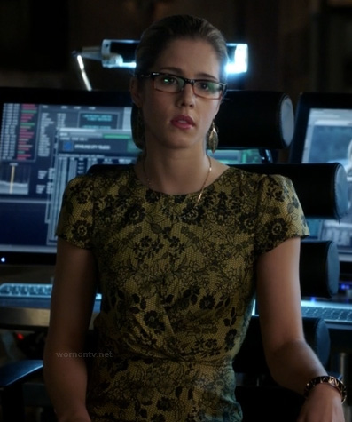 Felicity's yellow lace dress on Arrow