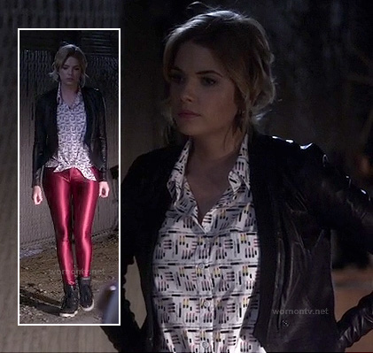Hanna's black leather jacket and red metallic leggings on Pretty Little Liars