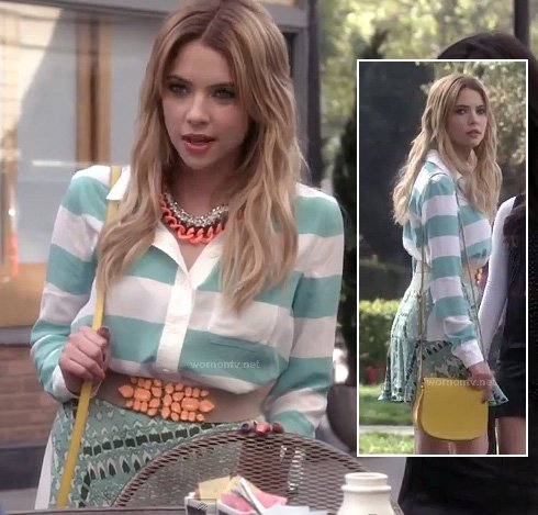 Hanna's mint green striped blouse on PLL
