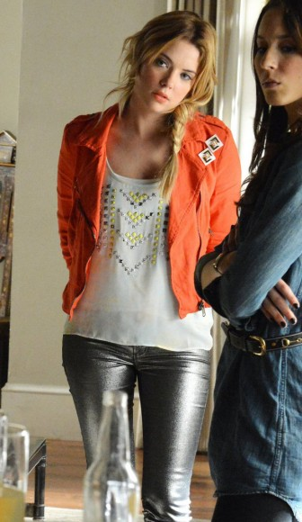 Hanna's orange moto jacket on PLL
