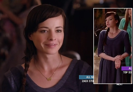 Jenna's blue dress with contrast trim on Awkward
