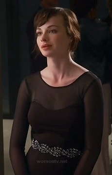 Jenna's black dress with long sheer sleeves on Awkward